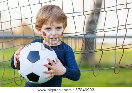Little Fan Boy At Public Viewing Of Soccer Or Football Game