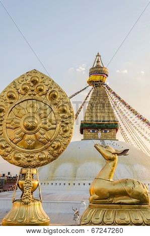 Golden Brahma Symbol In Front Of Bodhnath Stupa