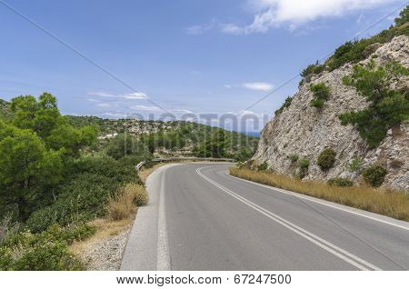Tarmac Road In The Hot Valley On The Rhodes Island