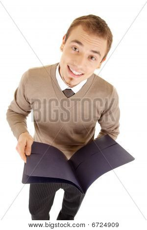 Young Well-dressed Man With Files For Documents.