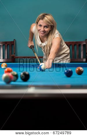Female Playing Billiard
