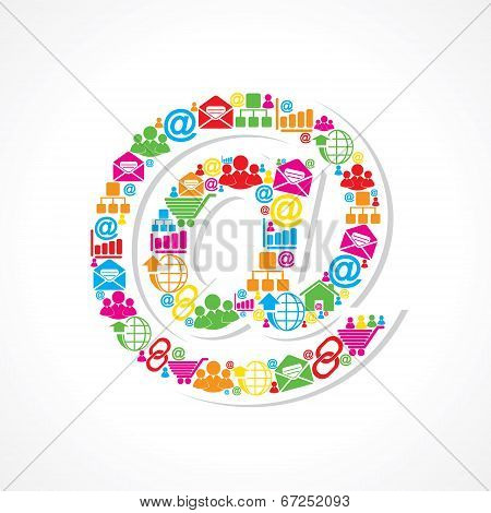 Small icons make email sign stock vector