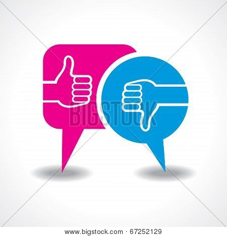 illustration of like and unlike symbol with message bubble