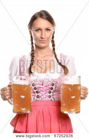 German Or Bavarian Waitress With Beer Mugs
