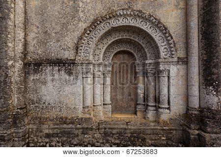 Horizontal Pic From North Door Of Notre-dame De L'assomption De Fenioux.church , Xii Century
