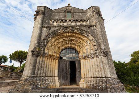 Horizontal Pic From West Facade Of Notre-dame De L'assomption De Fenioux.church , Xii  Century