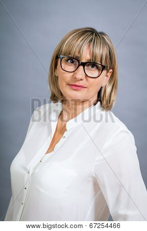 Scholarly Attractive Woman In Glasses