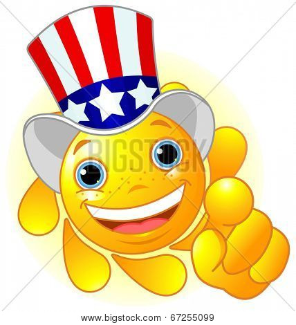 Cute and shiny Sun with Uncle Sam hat pointing to us. Raster version.