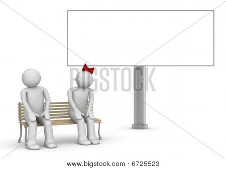 Shy couple on a bench with copyspace