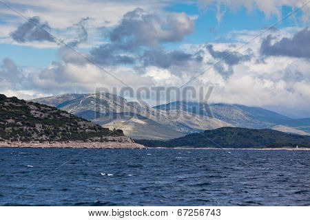 Croatian Coastline View From The Sea
