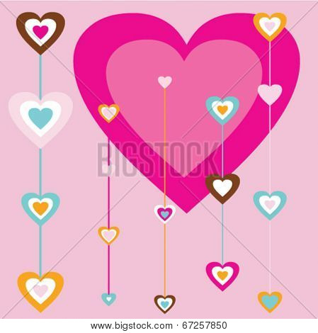 Vector hearts abstract background