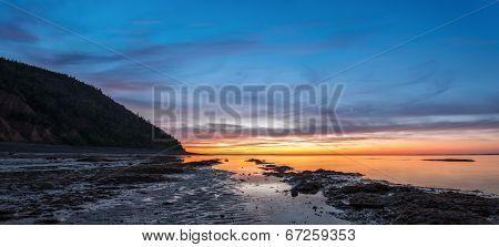 Panorama Of  Ocean Beach At The Crack Of Dawn (low Tide)