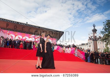 MOSCOW - JUNE, 19: Russian actress Olga Kabo with daughter.36st Moscow International Film Festival. Opening Ceremony at Pushkinsky Cinema . June 19, 2014 in Moscow, Russia