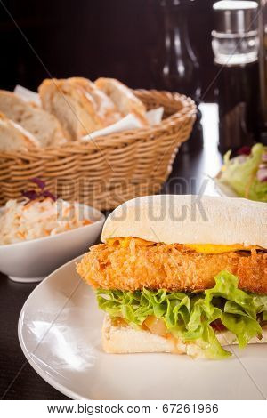Burger With Golden Crumbed Chicken Breast