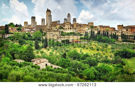San Gimignano panorama - medieval town of Tuscany, Italy