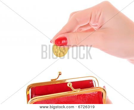 Red Wallet And Coin In Woman Hand