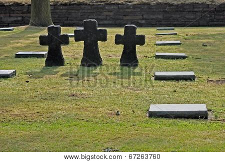 Granite cross memorials Langemark WW1 German military cemetery