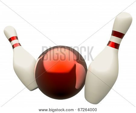 Bowling ball crashing into the skittles