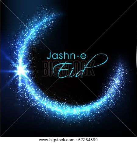 Shiny blue silver moon and stylish text Jashn-e-Eid on blue background for muslim community festival celebrations.