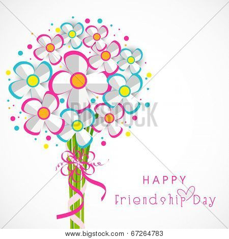 Colourful paper flower bunch on grey background for Happy Friendship Day celebrations.