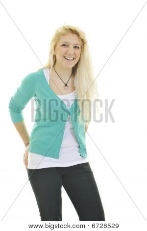 Happy Young Teenage Girl Isolated On White