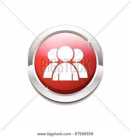 User Circular Vector Red Web Icon Button