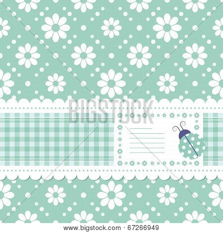 green flowery greeting card