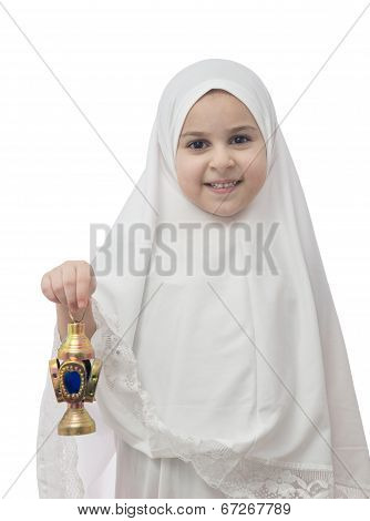 Muslim Girl In White Hejab With Ramadan Lantern