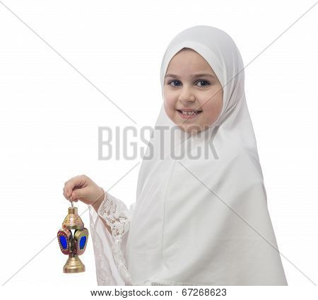 Young Muslim Girl In Hejab With Ramadan Lantern