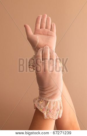 Female Hands Modeling Vintage See Through Gloves
