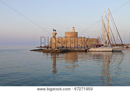 Port of Rhodes island in Greece