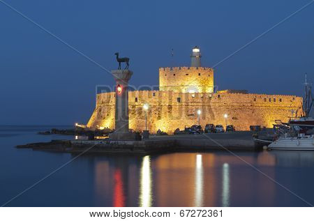 Saint Nikolaos fortress and the statue of the Deer at Rhodes island in Greece, Saint Nikolaos fortress and the statue of the Deer at Rhodes island in Greece