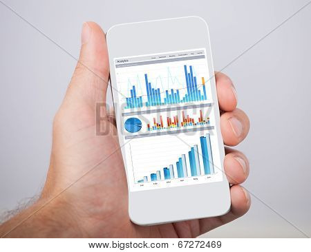 Hand Holding Mobile Phone With Financial Charts