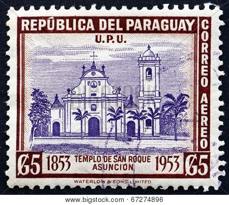 Postage Stamp Paraguay 1954 Church Of San Roque, Asuncion