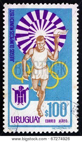 Postage Stamp Uruguay 1972 Torchbearer