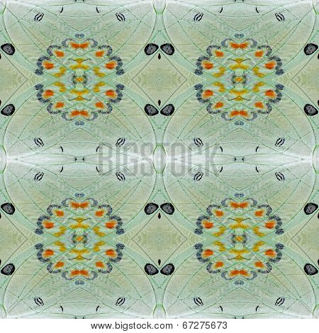 Seamless Background Pattern Made Of Jewelled Nawab Butterfly Wings