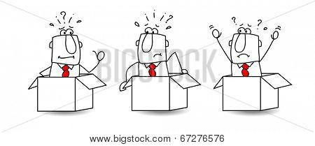 Three businessmen are in boxes. They can't move. It's the concept of the standardization