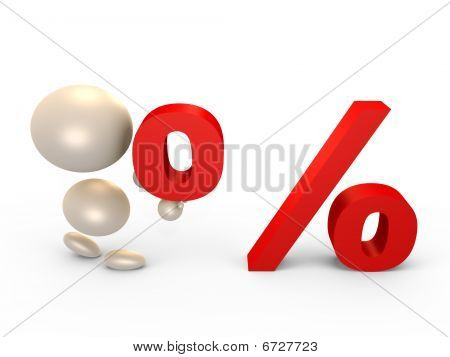 Forming the percent sign - 3D image