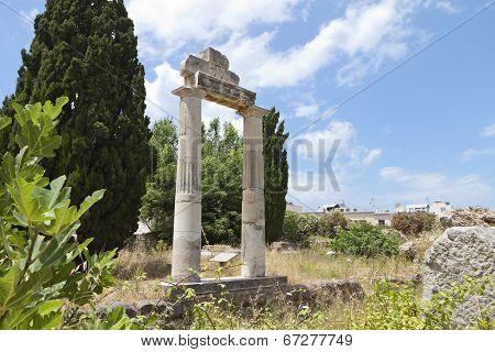 Kos island in Greece. Ancient Agora