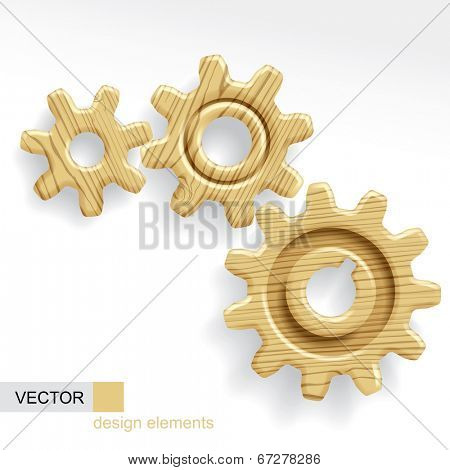 Vector image of three wooden gears of different sizes