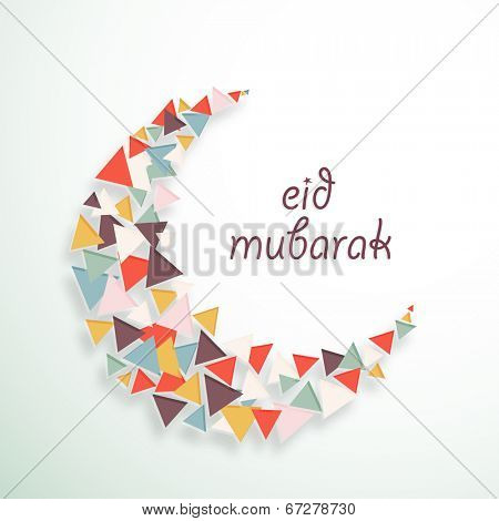 Colourful crescent moon for Muslim community festival Eid Mubarak celebrations.