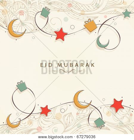 Muslim community festival Eid Mubarak celebrations background with golden moon and stars on beige background.