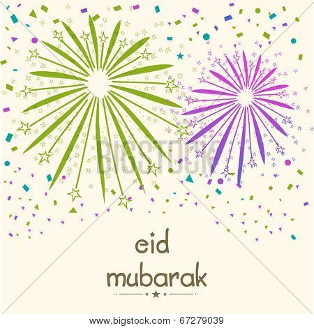 Colorful fireworks for Muslim community festival Eid Mubarak celebrations.