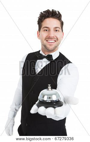 Waitperson Holding Service Bell