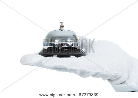 Hand With Service Bell Over White Background