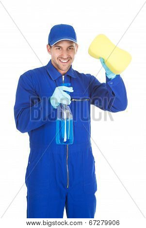Servant Holding Cleaning Spray And Sponge