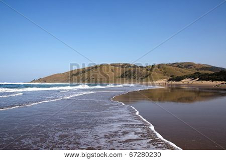 Outgoing Tide On Wild Coast Beach, Transkei, South Africa
