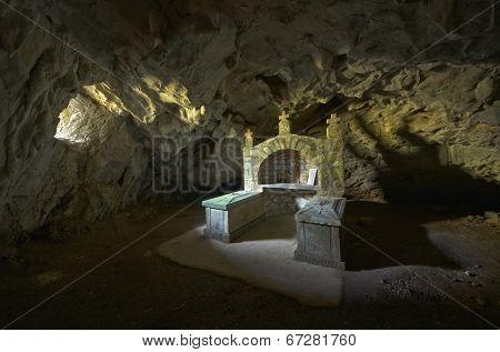 smoke cave-church In Ovcar Banja, Serbia
