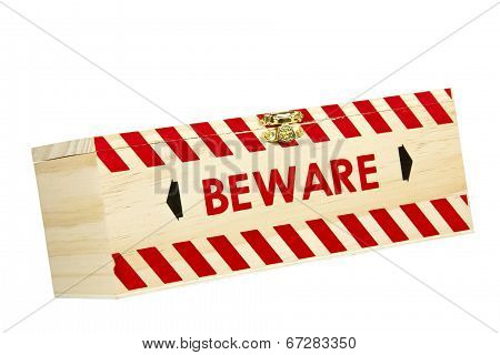 Wood Box With Red Chevron Worded Beware
