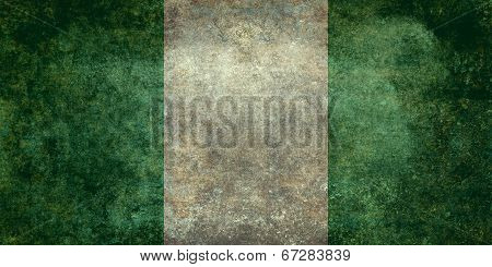 National flag of Nigeria, officially the Federal Republic of Nigeria - Distressed vintage version (t